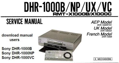 Руководство по эксплуатации цифровой видеомагнитофон Sony DHR-1000B/NP/VC